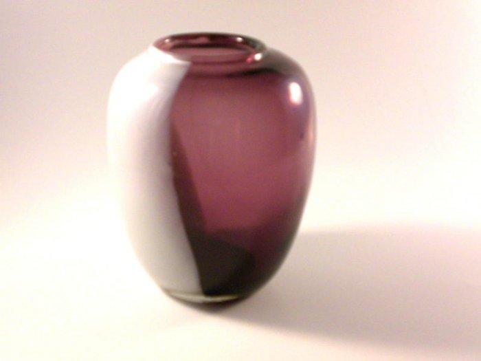 Vintage Slag Glass White Amethyst Vase Air Bubbles Purple