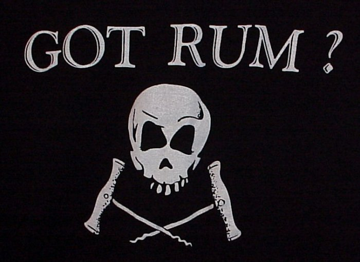 GOT RUM? Skull with Cross-Corkscrews Black T-Shirt Size Large