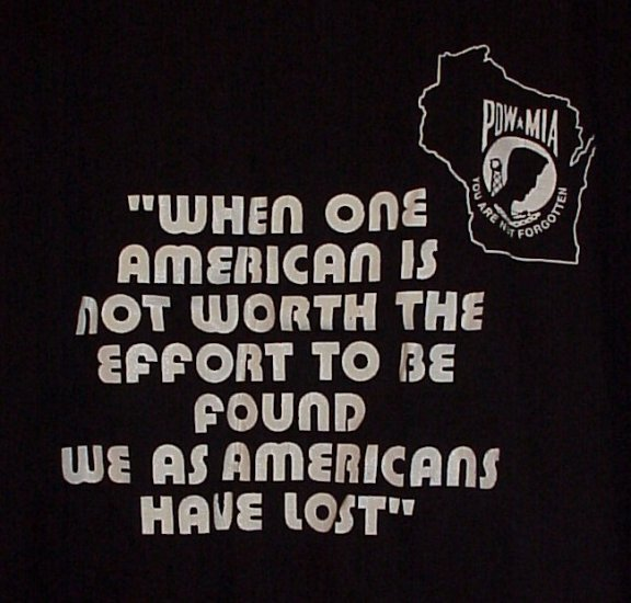 POW-MIA Poor is the Nation that has No Heroes WI Black T-Shirt Size Large
