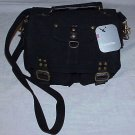 NO BOUNDARIES Black Canvas Cargo Organizer Pocket Purse Handbag