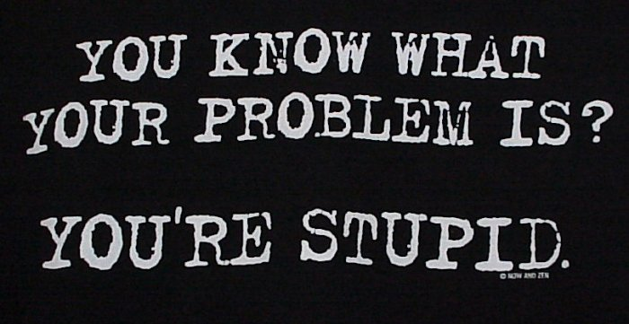 You Know What Your Problem Is? You're Stupid Black T-Shirt Size Medium
