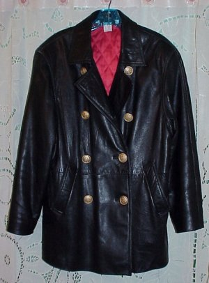 Women's Black Leather Double-Breasted Lined Car Coat Jacket Size Small-Medium