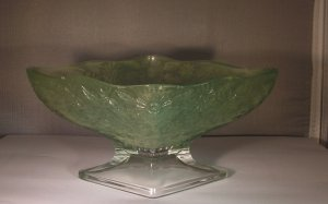 Pineapple and Floral Green Diamond Shaped Compote