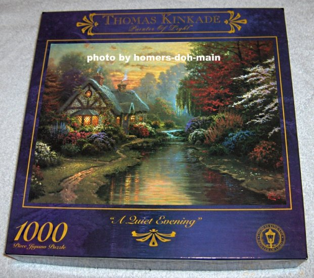 FOR SALE - Thomas Kinkade 1000 Piece Jigsaw Puzzle - A Quiet Evening - COMPLETE 3310-14