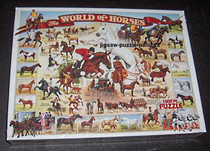 The World of Horses 1000 Piece Jigsaw Puzzle NIB Sealed 165White Mountain 1999 Lynn Morgan