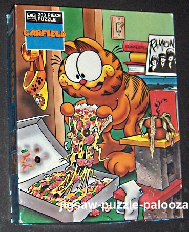 FOR SALE - Garfield the Cat 200 Piece Jigsaw Puzzle - Pizza - Golden #4860 - COMPLETE