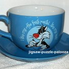 Large Tweety Sylvester Ceramic Coffee Mug Saucer Plate Blue Roast Cup Looney Tunes Warner Bros 1997