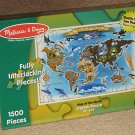 Melissa & Doug 1500 500 Piece Jigsaw Puzzle Lot Map of the World Beneath Canopy 3171 NEW SEALED