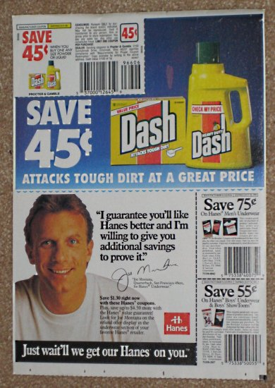 Joe Montana Original Newspaper Ad - Hanes- San Francisco 49ers - 1992
