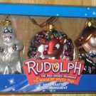 Rudolph the Red Nosed Reindeer & Island of Misfit Toys Glass Ornament Set Bumbles Hermey Brass Key