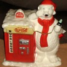 Coca-Cola Coke Ceramic Cookie Jar Polar Bear Vending Machine Houston Harvest Gift Products
