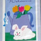 Spring Bunny Decorative Applique Garden Flag 28 x 40 Polyester New NIP Life's a Breeze