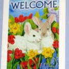 Spring Bunnies Decorative Artist's Touch Garden Flag 28 x 40 Polyester New NIP Life's a Breeze