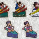 Mickey & Minnie Mouse Metal Ski Pins Lot of 5 Skiing Monogram Products Disney
