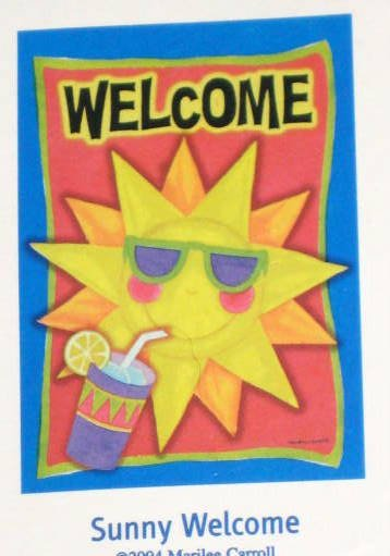 Sunny Welcome Decorative Artist's Touch Garden Flag 25.5 x 38 Summer Polyester NIP Marilee Carroll