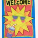 Sunny Welcome Decorative Artist&#39;s Touch Garden Flag 25.5 x 38 Summer Polyester NIP Marilee Carroll