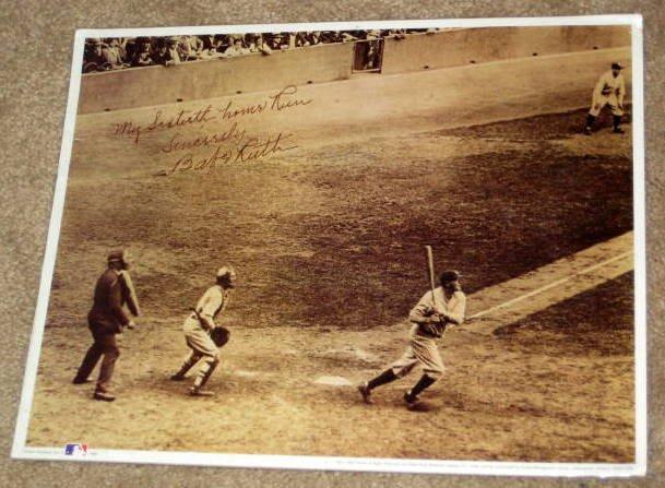 Babe Ruth 60th Home Run 11 x 14 Sepia Photo Print 60 Runs Record New York Yankees MLB Baseball
