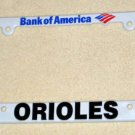 Baltimore Orioles Plastic License Plate Frame O's Birds Baseball MLB Bank of America