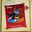 Best Night of the Week Mickey & Minnie Mouse Hallmark Keepsake Ornament Light Magic Sound NIB 2005