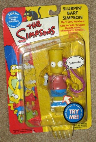Talkin' Slurpin' Bart Simpson Clip On Figure The Simpsons Fox TV Show Playmates Toys