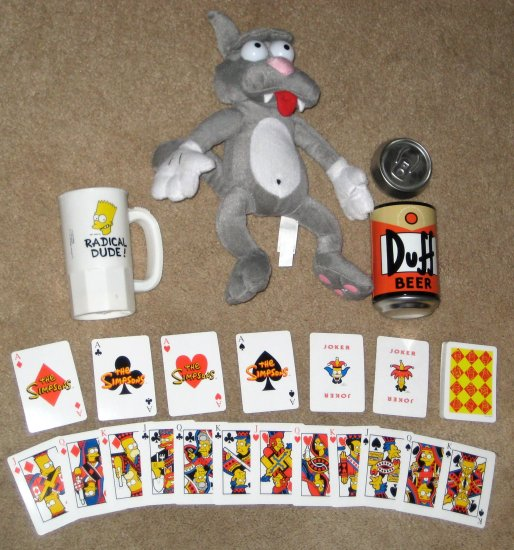 SOLD OUT Simpsons Lot Scratchy Cat Plush Playing Cards Duff Tin Plastic Bart Simpson Mug Calendar