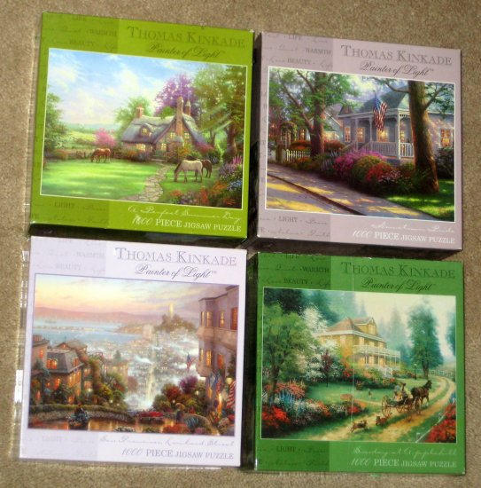 SOLD Thomas Kinkade 1000 Piece Jigsaw Puzzle Lot of 4 Painter of Light CEACO COMPLETE Hometown Pride