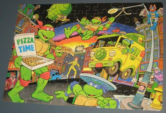 SOLD Teenage Mutant Ninja Turtles Jigsaw Puzzle 100 Pieces Pizza TMNT COMPLETE 1989 Mirage Studios