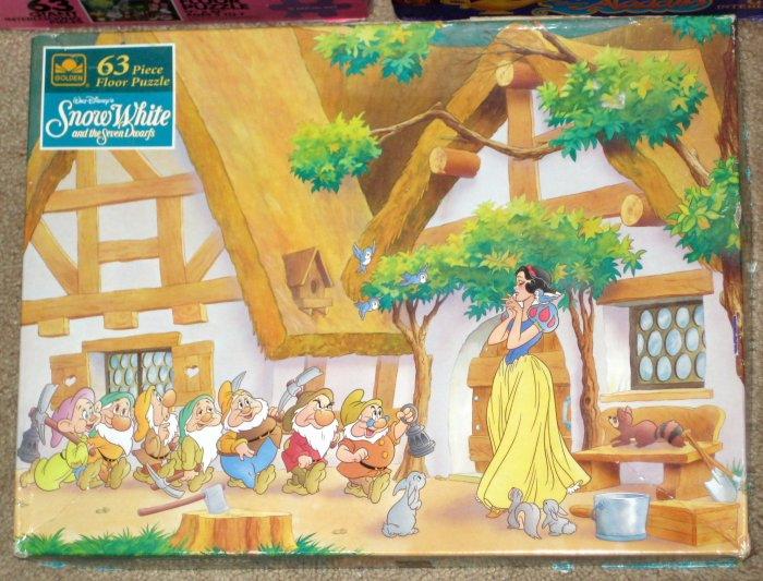 SOLD Golden Jaymar 63 Piece Disney Floor Puzzle Lot of 4 Snow White Aladdin Beauty Beast COMPLETE