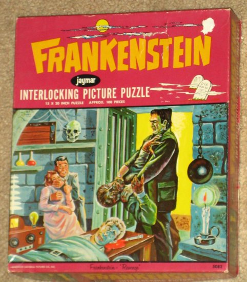 SOLD Vintage Frankenstein Revenge 100 Piece Jigsaw Puzzle Jaymar Wolfman 5082 COMPLETE 1963