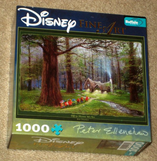SOLD Disney Fine Art 1000 Piece Jigsaw Puzzle Off To Home We Go Snow White and Seven Dwarfs Poster