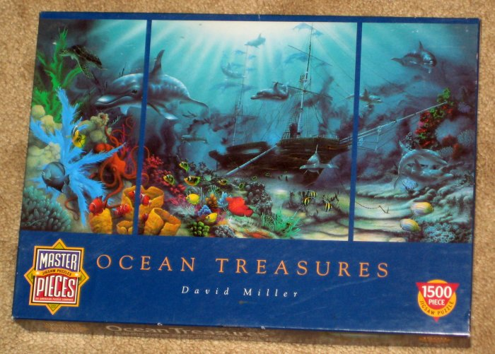 Ocean Treasures 1500 Piece Jigsaw Puzzle + Tropical Treasures 500 Masterpieces David Miller COMPLETE
