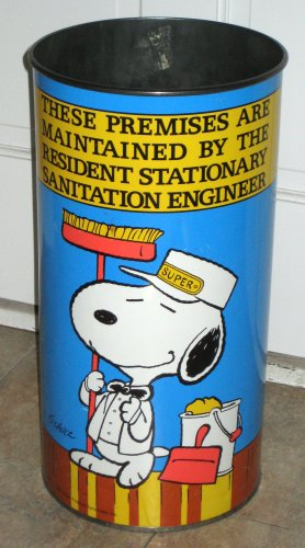 Sold snoopy large tall metal trashcan trash can wastebasket waste basket peanuts gang tin joe cool - Cool wastebaskets ...