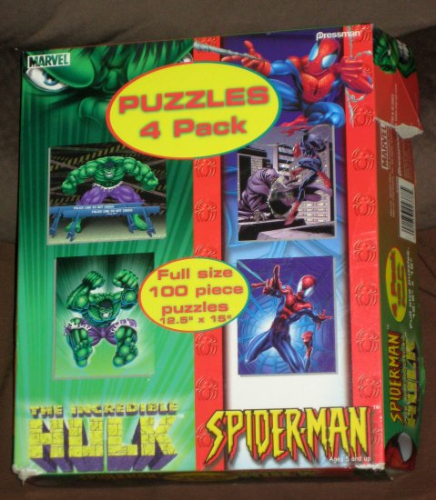 The Incredible Hulk Spiderman 4 Pack Puzzles 100 Piece Spider-Man Marvel Comics Pressman