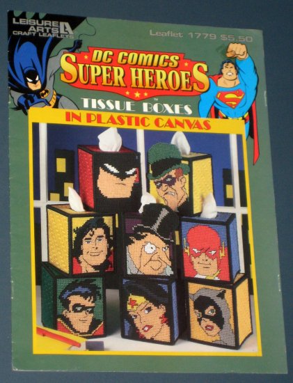 SOLD DC Comics Super Heroes Tissue Box Covers Boxes Plastic Canvas Leaflet 1779 1997 Leisure Arts