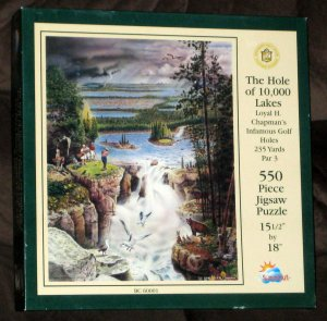 SOLD The Hole of 10,000 Lakes 550 Piece Jigsaw Puzzle Golf Loyal Chapman BC60001 Complete
