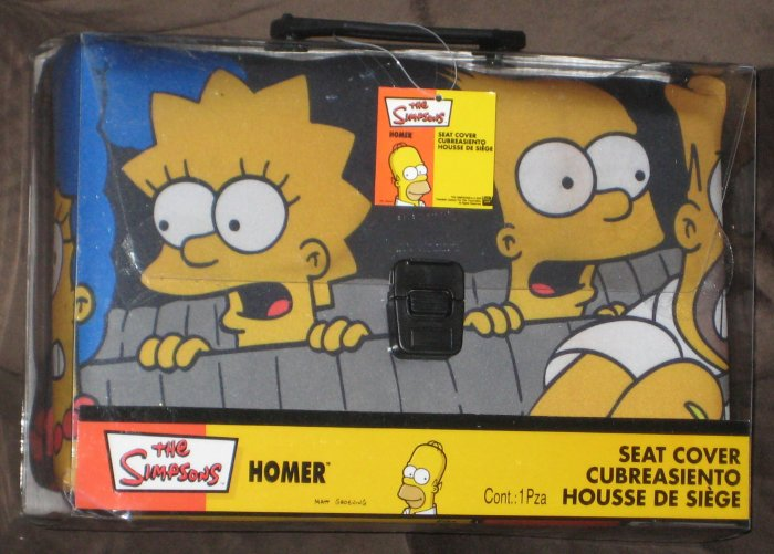 sold the simpsons driving car auto seat cover homer marge bart lisa maggie nip 2003 plasticolor. Black Bedroom Furniture Sets. Home Design Ideas