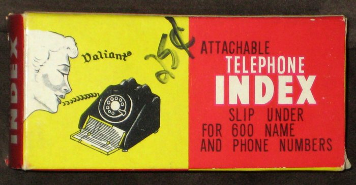 Vintage Attachable Telephone Index Valiant Phone Address Book with Box Unused