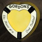 Gordon's Gin Heart Shaped Ceramic Cigarette Cigar Ashtray Ash Tray Carlton Ware England Yellow
