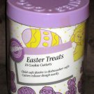 Wilton Cookie Cutter Set 2304 1106 Easter Treats 1990 in Plastic Canister Lilac Rabbit Egg Basket