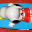 Vintage Peanuts Gang Snoopy Surfboard Pull Back Toy Pullback Surfer Surfing