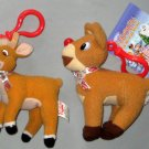 Rudolph the Red Nosed Reindeer Plush Clip-On Keychain Lot of 2 Island of Misfit Toys Prestige + Tin