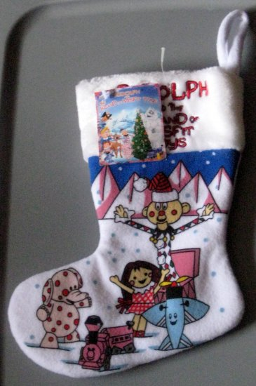 SOLD 11 Inch Christmas Stocking Rudolph and Island of Misfit Toys NWT Airplane Train Charlie in Box