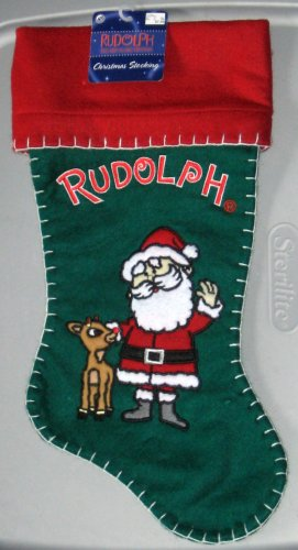 17 Inch Felt Christmas Stocking Rudolph the Red Nosed Reindeer Santa Claus NWT