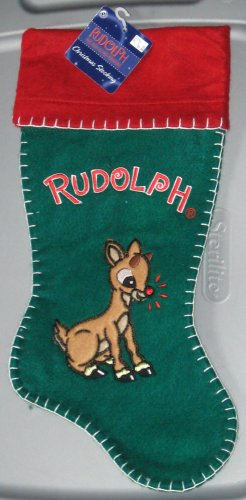 SOLD 17 Inch Felt Christmas Stocking Rudolph the Red Nosed Reindeer NWT