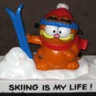 Garfield the Cat PVC Figurine Desktop Pen Holder Bully Figure West Germany Skiing is My Life