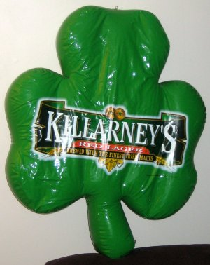 Killarney&#039;s Red Lager Inflatable Vinyl Green Shamrock Clover Anheuser Busch Irish Malt