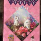 Garden Surprises 500 Piece Jigsaw Puzzle Diamond Shaped MasterPieces 30305 NEW Kittens Flowers