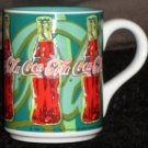 Coca-Cola Ceramic 4½ Inch Handled Coffee Mug Green Coke Cup Gibson Housewares 1998