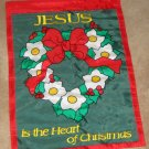 Christmas Decorative Applique Garden Flag 100% Nylon Holiday Wreath