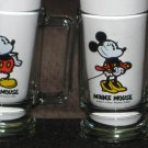 Mickey Minnie Mouse 5½ Inch Glass Mug Set Clear Walt Disney Handled